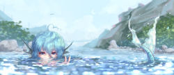 1girl ahoge blue_eyes blue_hair blue_sky blurry bridge day depth_of_field glint hair_between_eyes head_fins highres hoshibuchi looking_at_viewer mermaid monster_girl mountain outdoors peeking reflection river rock scales shore short_hair sky swimming touhou v wakasagihime water