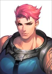 1girl arm_tattoo closed_mouth eyeliner green_eyes looking_at_viewer makeup muscle muscular_female nose overwatch pink_hair scar scar_across_eye short_hair simple_background sleeveless solo tattoo upper_body white_background yaksa444 zarya_(overwatch)