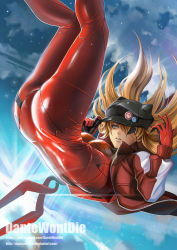 1girl animal_ears animal_hat artist_name ass backlighting badge bangs black_hat blue_eyes bodysuit breasts brown_hair button_badge cabbie_hat cat_hat cloud dantewontdie evangelion:_3.0_you_can_(not)_redo eyepatch fake_animal_ears falling floating_hair from_side gloves glowing hair_between_eyes hand_on_headwear hands_up hat hat_ornament jacket kneepits lance_of_longinus legs_together legs_up light_particles long_hair long_sleeves looking_to_the_side medium_breasts neon_genesis_evangelion night night_sky open_clothes open_jacket orange_hair outdoors parted_lips pilot_suit plugsuit polearm rebuild_of_evangelion red_bodysuit red_jacket shiny shiny_clothes single_vertical_stripe skin_tight skull_print sky solo soryu_asuka_langley sparkle tape test_plugsuit track_jacket transparent unzipped watermark weapon web_address zipper