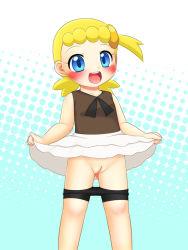 1girl :d aqua_background aqua_eyes bike_shorts bike_shorts_pull blonde_hair blush eureka_(pokemon) female hair_ornament hairclip halftone_background happy loli miyanii_(myanie) nintendo no_panties open_mouth pokemon pokemon_(anime) pokemon_(game) pokemon_xy polka_dot polka_dot_background ponytail pussy shirt short_hair short_ponytail side_ponytail skirt skirt_lift sleeveless sleeveless_shirt smile solo uncensored