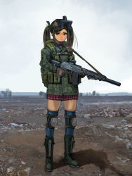 1girl ammunition_pouch assault_rifle backpack bag blurry boots brown_eyes brown_hair cross-laced_footwear depth_of_field desert gloves goggles goggles_on_head gun hair_ribbon hettsuaa highres horizon knee_pads lace-up_boots load_bearing_equipment looking_at_viewer military original pleated_skirt ribbon rifle serious shadow sketch skirt sky sling solo thighhighs trigger_discipline twintails weapon
