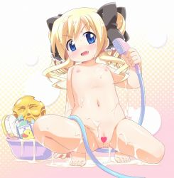 >:d 1girl :d akechi_kokoro barefoot blonde_hair blue_eyes blush bow bucket censored drill_hair fang feet flat_chest hair_bow heart heart_censor hiro_hiroki hose loli long_hair naughty_face navel nipples nude open_mouth pussy rubber_duck shampoo shower_head smile solo spread_legs squatting tantei_opera_milky_holmes toes twin_drills