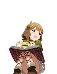 1girl blue_eyes book boots brown_hair child glyph green_clothes idolmaster idolmaster_million_live! legs magic official_art open_mouth simple_background skirt solo spell suou_momoko tagme transparent white_skirt