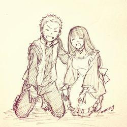 1boy 1girl apron eyes_closed happy husband_and_wife hyuuga_hinata japanese_clothes monochrome naruto short_hair sketch smile uzumaki_naruto yukimichi_(snowysky)