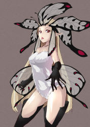 1girl aerie_(bravely_default) blonde_hair bravely_default:_flying_fairy fairy gloves head_wings highres kobiemon long_hair pointy_ears red_eyes solo spoilers tongue tongue_out wings
