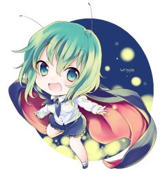 1girl antennae aqua_eyes cape green_hair long_sleeves looking_at_viewer open_mouth shirt shorts smile solo touhou wriggle_nightbug