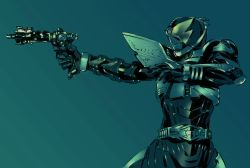 1boy aiming armor belt blue gun helmet highres holding holding_gun holding_weapon kamen_rider kamen_rider_drake kamen_rider_kabuto_(series) male_focus outstretched_arm shimoguchi_tomohiro solo weapon
