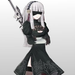 1girl alternate_costume alternate_hair_color back_cutout black black_dress black_gloves black_legwear blindfold breasts cleavage cleavage_cutout closed_mouth cosplay covered_eyes crossed_arms cryopon dress feather-trimmed_sleeves fire_emblem fire_emblem_if gloves hair_ornament highres juliet_sleeves katana lips long_hair long_sleeves nier_(series) nier_automata puffy_sleeves ribbed_dress silver_hair simple_background solo solo_focus standing sword syalla_(fire_emblem_if) thighhighs upper_body weapon white_background yorha_no._2_type_b yorha_no._2_type_b_(cosplay)