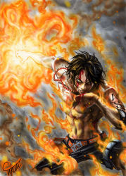 1boy abs absurdres battle black_hair blood elbow_pads fire green_eyes highres jewelry male marlboro_(artist) necklace one_piece portgas_d_ace shirtless short_hair signature smile smoke solo tattoo wiping_mouth