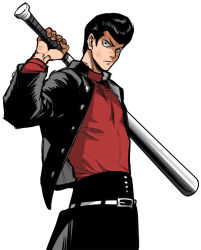 >:( 1boy baseball_bat belt black_hair black_pants blazer closed_mouth frown gakuran holding holding_weapon kinzoku_bat long_sleeves looking_at_viewer male_focus metal_bat one-punch_man over_shoulder pants pompadour school_uniform simple_background solo turtleneck upper_body weapon weapon_over_shoulder white_background you_(wsynkk)