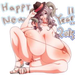 1girl 2015 areolae breasts gigantic_breasts hat highres horns micro_bikini mnjs nipples original skindentation solo