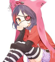 1girl animal_hood belt black_hair chains commentary_request crescent eyepatch frown hand_rest hayasaka_mirei heart hood idolmaster idolmaster_cinderella_girls lavender_skirt long_sleeves looking_at_viewer misha_(hoongju) multicolored_hair pin red_hair red_shirt shirt short_sleeves simple_background sitting solo streaked_hair striped striped_legwear white_background yellow_eyes