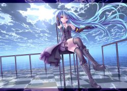 1girl blue_hair boots clouds corset elbow_gloves female flower gloves goth-loli hatsune_miku lolita_fashion long_hair purple_eyes rose sky solo thighhighs twintails vocaloid water wristwear yusuke