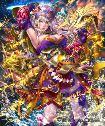 1girl arm_up armor armpits boots breasts cleavage closed_mouth cowboy_shot earrings fire gloves green_eyes headgear highres holding holding_sword holding_weapon japanese_armor japanese_clothes jewelry kaburagi_yasutaka knee_boots large_breasts light_smile long_hair looking_away official_art over_shoulder purple_gloves sengoku_saga silver_hair solo sword weapon weapon_over_shoulder