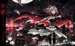 1girl bat cross looking_at_viewer moon night pixiv_fantasia pixiv_fantasia_fallen_kings red_eyes solo spark_(sandro) tombstone