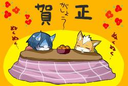 1boy 1girl blue_hair fox_mccloud furry japanese_text krystal nintendo sleeping star_fox table text translation_request