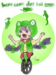 :d black_eyes black_hair bow english frog frog_hat green_bow hair_bow hood hoodie jacket juggling long_hair looking_up meme open_mouth short_sleeves signature simple_background smile takeuchi_kou text unicycle