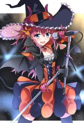 1girl bat_wings black_legwear blue_eyes blush choker commentary_request demon_tail detached_sleeves dragon_girl elizabeth_bathory_(fate/grand_order) eyebrows eyebrows_visible_through_hair fang fate/grand_order fate_(series) hair_between_eyes halloween hat holding holding_microphone lancer_(fate/extra_ccc) long_hair microphone open_mouth pink_hair solo tail tsuedzu wings witch_hat