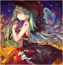 1girl bat_wings candy dress ghost green_eyes green_hair halloween hatsune_miku long_hair looking_at_viewer smile solo tattoo teka twintails umbrella very_long_hair vocaloid wings