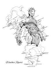 abs absurdres araki_hirohiko_(style) character_name cloud crosshatching gyro_(gyro-zeppeli) hatching highres jojo_no_kimyou_na_bouken monochrome no_humans solo spikes stand_(jojo) weather_report_(stand)