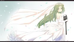 1girl bare_shoulders blush breasts bridal_veil confetti crescent crescent_hair_ornament dress elbow_gloves eyebrows eyebrows_visible_through_hair flowing_dress frilled_dress frills from_side gloves gradient gradient_background green_eyes green_hair hair_between_eyes hair_ornament heavens_thunder_(byakuya-part2) highres holding kantai_collection letterboxed long_hair looking_at_viewer looking_back nagatsuki_(kantai_collection) small_breasts solo strapless strapless_dress turret twitter_username veil very_long_hair wedding_dress white_dress white_gloves