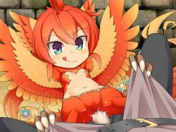 1boy 1girl feathers luka_(mon-musu_quest!) mon-musu_quest! orange_hair phoenix pussy_juice rape sex wings