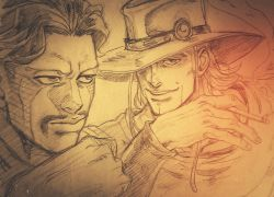 cigarette daniel_d'arby facial_hair facial_tattoo graphite_(medium) hat hatching_(texture) hol_horse jojo_no_kimyou_na_bouken kouto29 monochrome mustache one_eye_covered photo tattoo traditional_media wristband