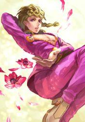 1boy blonde_hair flower giorno_giovanna jojo_no_kimyou_na_bouken looking_at_viewer male petals pink_eyes shirawara_bianka solo