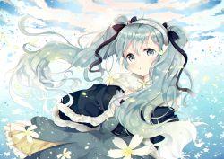 1girl ahoge cloud dress green_eyes green_hair hairband hatsune_miku li.b_(liebenib) long_hair petals revision sky solo twintails vocaloid yuki_miku