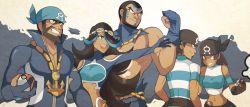 aogiri_(pokemon) aogiri_(pokemon)_(remake) bandanna beard black_hair blue_gloves blue_hair dark_skin facial_hair gloves goggles goggles_on_head grin hair_over_one_eye holding holding_poke_ball izumi_(pokemon) izumi_(pokemon)_(remake) jewelry long_hair midriff multicolored_hair muscle necklace npc_trainer poke_ball pokemon pokemon_(game) pokemon_oras sally_(yuki-menoko) short_hair smile tan team_aqua team_aqua_grunt two-tone_hair uniform ushio_(pokemon) ushio_(pokemon)_(remake)