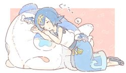 1girl blue_hair blue_pants eyes_closed hairband katiko pants pokemon pokemon_(creature) pokemon_(game) pokemon_sm sandals short_hair sleeping sleeveless stuffed_animal stuffed_toy suiren_(pokemon) trial_captain wishiwashi