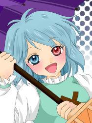 1girl blue_eyes blue_hair commentary_request heterochromia karakasa_obake open_mouth red_eyes short_hair skirt smile solo tatara_kogasa touhou umbrella yuzuna99