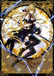 1girl black_legwear blonde_hair breasts cleavage full_body garter_straps hair_ornament hair_ribbon highres holding long_hair looking_at_viewer low-tied_long_hair original pixiv_fantasia pixiv_fantasia_sword_regalia ribbon shoes solo staff stells tagme yellow_eyes