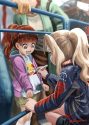 2girls abazu-red alternate_costume alternate_hairstyle bangs blonde_hair blue_eyes blue_jacket blunt_bangs brand_name_imitation brown_eyes brown_hair brown_shorts character_name child commentary_request girls_und_panzer highres holding hood hoodie jacket kay_(girls_und_panzer) logo_parody long_hair long_sleeves marker multiple_girls open_clothes open_jacket open_mouth pink_jacket ponytail red_bull shirt shorts signature signing smile squatting twitter_username white_shirt