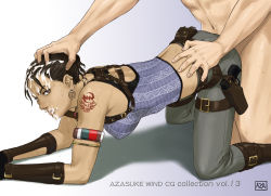 1girl all_fours ass azasuke back black_hair breasts brown_eyes capcom clothed_female_nude_male crop_top cum cum_in_mouth cum_on_hair dark_skin doggystyle earrings facial fanny_pack gun hand_on_head highres holster large_breasts legs looking_back pants ponytail resident_evil resident_evil_5 sex sheva_alomar simple_background sweat tattoo thighs weapon