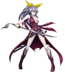 >:) 1girl alternate_costume armpits bare_shoulders bracelet breasts closed_mouth cthulhu_mythos cthylla_(cthulhu_mythos) dress full_body grey_hair holding holding_sword holding_weapon jewelry katana living_clothes mazeran parody persona red_dress scabbard sheath simple_background small_breasts solo standing sword touhou watatsuki_no_yorihime weapon white_background yellow_eyes