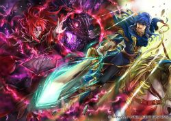 2boys alvis_(fire_emblem) armor blonde_hair book cape celice_(fire_emblem) company_connection copyright_name detached_sleeves dragon fire_emblem fire_emblem:_seisen_no_keifu fire_emblem_cipher gloves holding holding_weapon horseback_riding long_hair magic multiple_boys official_art open_mouth red_hair riding short_hair suzuki_rika sword weapon