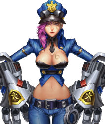 1girl breasts hat large_breasts league_of_legends pink_hair police solo standing vi_(league_of_legends)