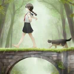 1girl barefoot braid bridge brown_hair cat feet forest grass legs long_hair nature original outstretched_arms roro_(yamagata) school_uniform serafuku skirt solo toes tree