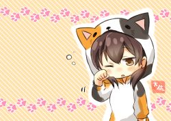 1girl absurdres alternate_costume animal_costume artist_name brown_eyes brown_hair cat_costume clenched_hand commentary_request highres kaga_(kantai_collection) kantai_collection long_sleeves motion_lines one_eye_closed open_mouth orange_background paw_print short_hair solo striped striped_background taisa_(kari)