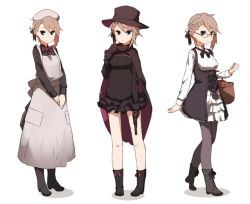 1girl amonitto ange_(princess_principal) blue_eyes boots bow bowtie braid brown_hair cape commentary_request dress french_braid frilled_skirt frills glasses gloves gun hair_ribbon handgun hat long_skirt looking_at_viewer multiple_views nurse princess_principal revolver ribbon short_dress short_hair side_braid simple_background skirt solo top_hat underbust variations victorian weapon white_background