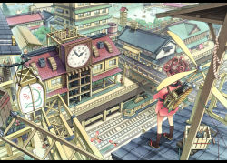 1girl aikei_ake air_conditioner architecture back backpack bag balcony black_hair board boat box bridge brown_hair building carrying_over_shoulder cat child chimney clock clock_tower dock double_bun east_asian_architecture faceless fence floral_print flower fountain from_above from_behind gears hair_ornament hakama house japanese japanese_clothes jewelry kimono kneehighs ladder lake lantern leaning_forward legs_apart letterboxed long_hair machinery maneki-neko multiple_boys multiple_girls original overpass package paper_lantern pillar pine_tree plant potted_plant propeller railing railroad_tracks ring rooftop rope samurai sandals sash scroll shadow short_kimono side_slit solo_focus standing statue string topknot tower train train_station tree waiting walking water waving wheel window wooden_fence zouri