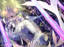 1girl akira_hou bangs bare_shoulders brooch bubble copyright_name detached_collar dress fish fish_bone hair_rings headgear jewelry light_rays open_hands parted_bangs parted_lips pixiv_fantasia pixiv_fantasia_fallen_kings plant sidelocks solo strapless_dress underwater white_hair wide_sleeves yellow_eyes
