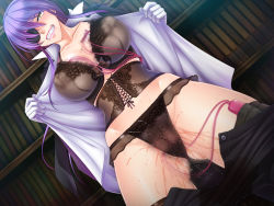 1girl black_bra black_lilith black_panties blush bra breasts butler cameltoe cleavage cum eyepatch eyes_closed female game_cg gloves hips kagami_hirotaka large_breasts legs lingerie long_hair looking_at_viewer onmyou_kishi_towako open_clothes open_shirt orgasm panties pants_down purple_hair pussy_juice sex_toy shiki_reika shiny_skin solo standing sweat tattoo thighhighs thighs underwear undressing vibrator vibrator_under_panties wet