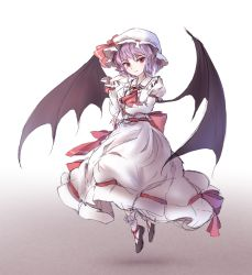 1girl ascot bat_wings colored dress full_body gradient gradient_background hat hat_ribbon highres lavender_hair long_sleeves looking_at_viewer minust mob_cap pointy_ears puffy_sleeves red_eyes remilia_scarlet ribbon sash shoes sketch slit_pupils socks solo touhou white_legwear wings