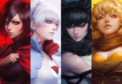 4girls black_hair blake_belladonna blonde_hair breasts cleavage column_lineup looking_at_viewer looking_to_the_side multiple_girls parted_lips purple_eyes realistic red_hair revision ruby_rose rwby silver_hair small_breasts stanley_lau weiss_schnee yang_xiao_long yellow_eyes