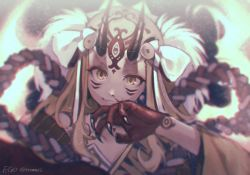 1girl blonde_hair blood blurry claws closed_mouth coin copyright_name depth_of_field facepaint facial_mark fang fang_out fate/grand_order fate_(series) forehead_mark grin hair_ornament horns ibaraki_douji_(fate/grand_order) injury japanese_clothes kimono light_particles long_hair looking_at_viewer nosebleed off_shoulder oni oni_horns palms rope slit_pupils smile solo twitter_username upper_body veryberry00 wide_sleeves wiping_nose yellow_eyes