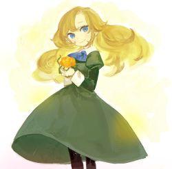 1girl blonde_hair blue_eyes dress flower green_dress gwayo ib long_hair mary_(ib) rose solo