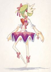 alternate_costume bow dress gardevoir open_mouth pokemon pokemon_(game) pokemon_oras ribbon sally_(yuki-menoko) sparkling