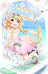 1girl :d basket bird blonde_hair blush collarbone flower full_body gloves head_wreath high_heels highres long_hair looking_up open_mouth original outline outstretched_arms piano_keys pink_skirt red_eyes rougetsu see-through shirt shoes skirt smile solo very_long_hair white_gloves white_shirt white_shoes